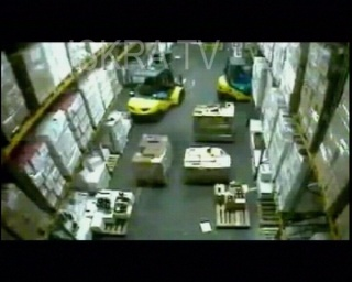 forklift destroys a storage facility