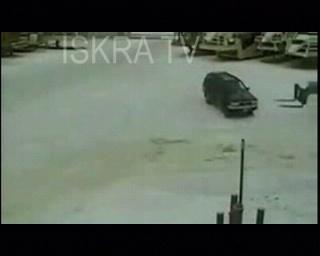 car hit as forklift slides on ice