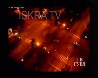 car hits police roadblock – cctv, mute