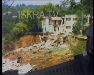 buildings collapse in landslide