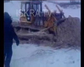 bulldozer on ice, falls through