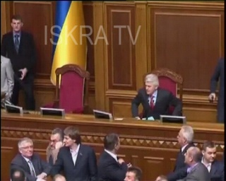 Ukrainian parliament fight and disorder