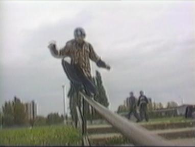skater misses railings
