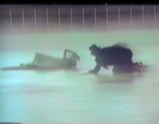 bride and groom falling on ice