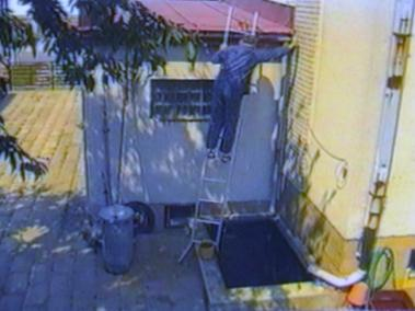 Man falls off a ladder into water basin