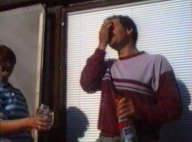 Cork shoots up man's face