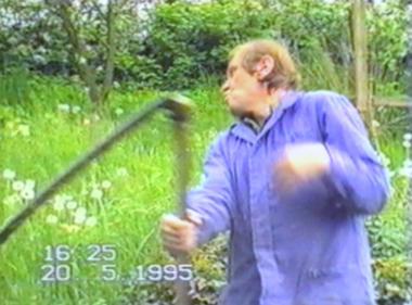 Man hit in face by scythe sharpener