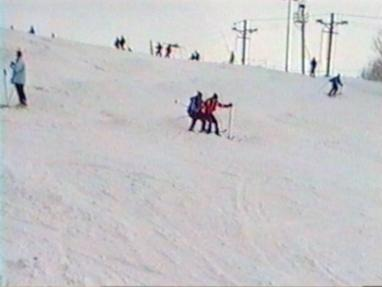 Skiers crash into each other