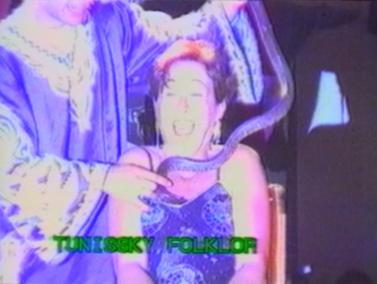 Snake down woman's dress