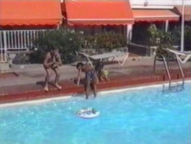 Girl gets stuck in rubber ring in pool
