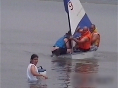 An over full boat capsizes