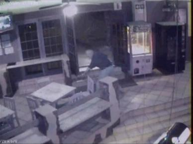 Drunk leaving a bar – CCTV