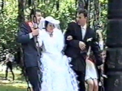 Wedding party on swing, fall