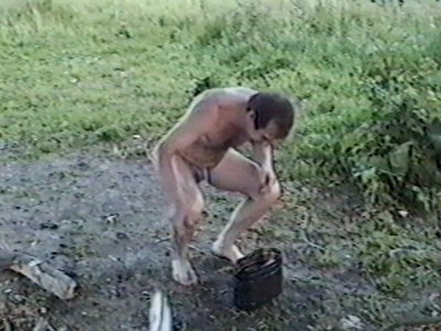 Man with fish in pot